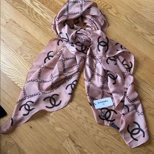 New with Tags!  Chanel pink and black silk scarf
